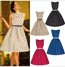 NEW Women Vintage Retro Cocktail Evening Party Swing Flared Polka Dot Dress 081b