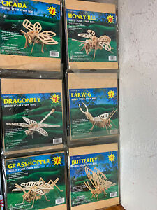 Woodcraft Construction Kit - Bugs Butterfly Earwig Dragonfly Honey Bee Lot of 6