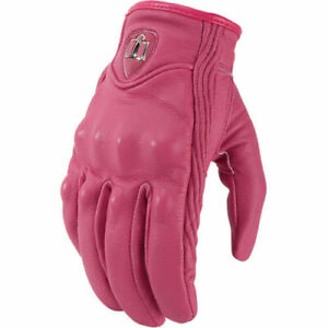 2020 Icon Non Perforated Womens Pursuit Leather Motorcycle Gloves - USA SELLER