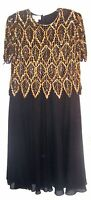 Plus Sz 1X ~ Laurence Kazar Gold Leaf Beaded & Sequin Bodice & Black Dress