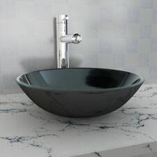 vidaXL Basin Tempered Glass 42cm Black Cloakroom Bathroom Above Counter Sink