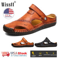 Men's Brown Leather Safety Closed Toe Outdoors Sandals Casual Shoes US Size 4-14