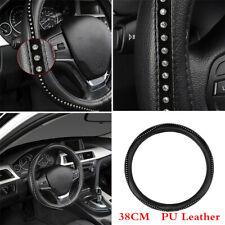 Anti-slip High Grade PU Leather Car Steering Wheel Cover  w/Crystal Rhinestone