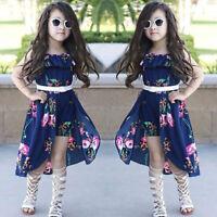 Kid Girls Floral Printed Dress Off-Shoulder Ruffles Hi Lo Romper Jumpsuits Cloth