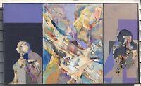 "Original 1985 Benjamin Borax ""Across "" Abstract Collage Vintage Rare 50""x30"""