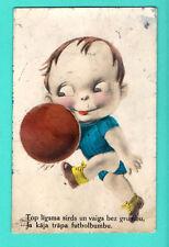 BOY PLAYING BALL VINTAGE POSTCARD 883