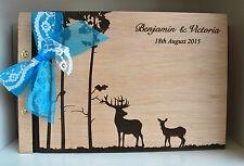 buck and doe guest book A4 personalised wood deers, wooden wedding photo album