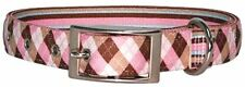 New listing Yellow Dog Design Uptown Collar, Small, Pink/Brown Argyle on Stripes
