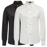Mens Gothic Shirt Top Victorian Ruffle Collar Punk Long Sleeve Retro Fashion New