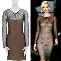29d668a42 runway GUCCI TOM FORD SS01 nude mesh corset illusion dress Kate Moss IT42 M