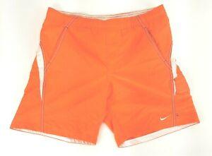 Nike Logo Mens Small Orange Swimwear Shorts Trunks w/ Closing Pocket EUC