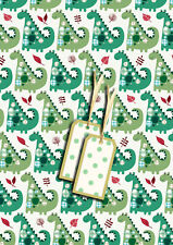 JODDS LUXURY DINOSAUR GIFTWRAP - 2 sheets with matching gift tags
