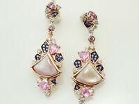 925 Silber Ohrringe mit Zirkonia Steinen  und rose` Perlmutt  37 mm Länge