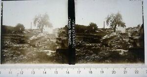 LL131 Plaque verre positif stéréo TBE ww1 12x6cm Vierzy Aisne Tanks Renault