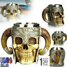 Stainless Steel 3D Skull Cup Viking Ram Horns Warrior Skull Beer Coffee Tea Mug