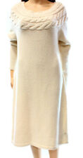 NEW Womens Lauren Ralph Lauren Beige Modern Cream Wool Knit Dress Size L