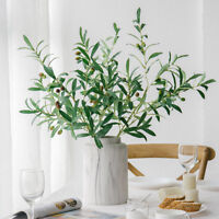 BG_ Artificial Olive Branch with Fruits Fake Plant Home Decor Photography Props