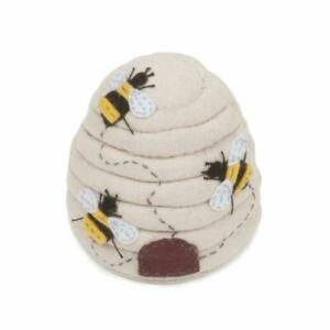 HobbyGift Pin Cushion Bee Hive - Appliqué bee Design - Sewing Needles Storage