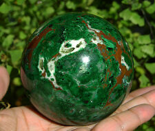 "69mm (2.7"") AAA Large MALACHITE with CHRYSOCOLLA Geode Crystal Sphere Ball #1351"