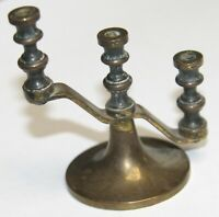 "Vintage antique brass candelabra mini miniature small 2.5"" 3 arm"