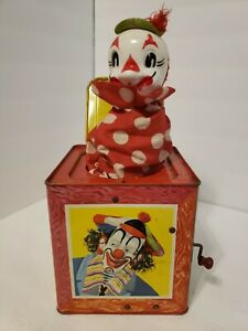 A35 Vintage 1950's Matty Mattel CIRCUS CLOWN Jack in Box Tin TOY No. 659