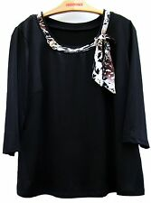 Womens New Ladies Black Scoop Neck 3/4 Sleeve Casual Chain Top Tunic Size 20