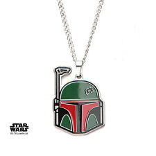 OFFICIAL STAR WARS BOBA FETT MASK CUT OUT PENDANT ON CHAIN NECKLACE (BRAND NEW)
