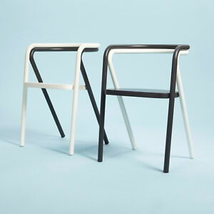 Prototype of Cappellini Chair, Steel Tubes Plywood Seat, Set of Two, Black&White