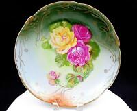 """C TIELSCH CT ALTWASSER GERMANY ROSES AND GOLD 12 3/8"""" CHARGER 1800's"""