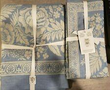 New Williams Sonoma Vintage Floral Jacquard Tablecloth 70x126 Plus 2 Sets Napkin