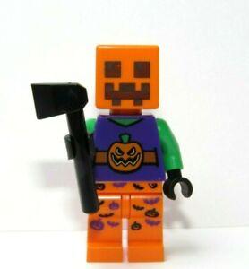 Lego Jack O Lantern Pumpkin Minifigure Minecraft  Head Halloween Monster & Axe