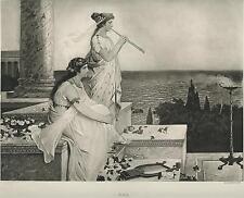 ANTIQUE BEAUTIFUL ANCIENT GRECIAN ROMAN COSTUME GIRLS ROSES FLUTE PLAYER PRINT