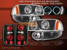 2000-2006 GMC YUKON DENALI HEADLIGHTS W/ LED HALO BLK+ BUMPER+ TAIL LIGHTS BLK