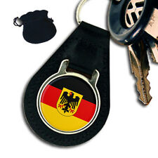 GERMANY FLAG COAT OF ARMS   LEATHER KEYRING / KEYFOB