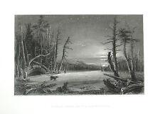 WINTER SCENE CATSKILL MOUNTAINS BEAR & HUNTER ~ Antique 1837 Art Print Engraving