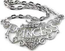 Crown Princess Tiara Heart Choker Necklace Clear Crystal Silver Tone Kid Pendant