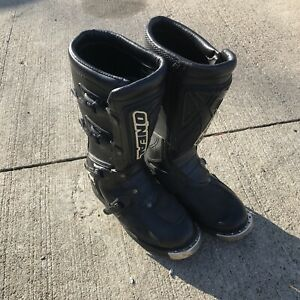 O'Neal Elements Black Leather Motorcycle MX Motocross Racing Boots Mens Size 7