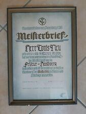 Meisterbrief Friseur, Handwerkskammer Arnsberg, 1951, gerahmt