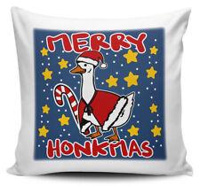 Merry Honkmas Funny Christmas Goose Novelty Cushion Cover