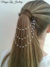 illusion Hair chain vine Accessory. Swarovski AB Crystals. Bridal wedding prom