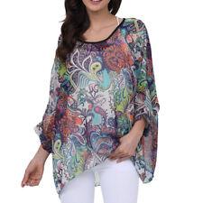 Women Chiffon Batwing Blossom Print Poncho Tunic Top Baggy Blouse Kimono Blouse