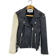 Oak Leather Moto Jacket Womens Small Black Off White Suede Sleeve