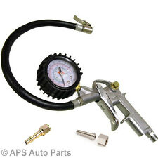 Car Van Tyre Air Inflator Dial Pressure Gauge Compressor Meter Quick Connector