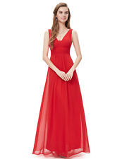 Ever-Pretty UK Long V-neck Formal Proms Gown Evening Bridesmaid Dresses 08110 Red 16