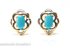 9ct Gold Turquoise Celtic Stud earrings Made in UK Gift Boxed