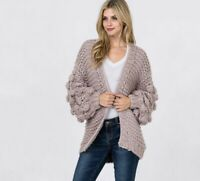 Handmade Chunky Cable Knit Open Cardigan Long Sleeve Wrap Sweater