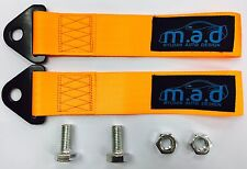 2 x ORANGE M.A.D 280MM TOW STRAP LOOP RECOVERY HOOK TRACK DAY RACE CAR DRIFT