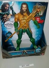 "12"" AQUAMAN DC Trident Strike Figure Squeeze legs 30 Sounds phrases Lights up"