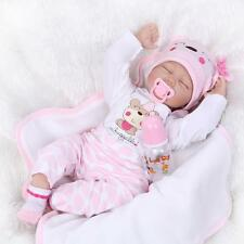 Nicery Reborn Baby Doll Soft Silicone Girl Toy 22in. 55cm Pink White Eyes Close