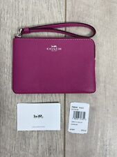 Coach Pink Crossgrain Leather Corner Zip Wristlet Wallet F58032 MSRP $75
